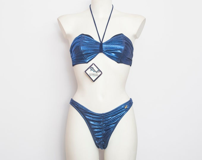 hight cut 90s bikini NOS Vintage navy blue