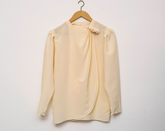 80's Cream blouse NOS Vintage Size L