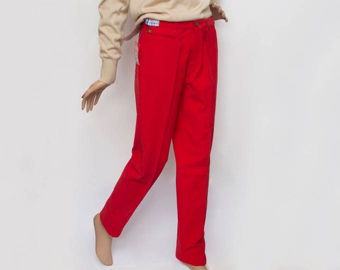 NOS Vintage 80's red corduroy pants trousers