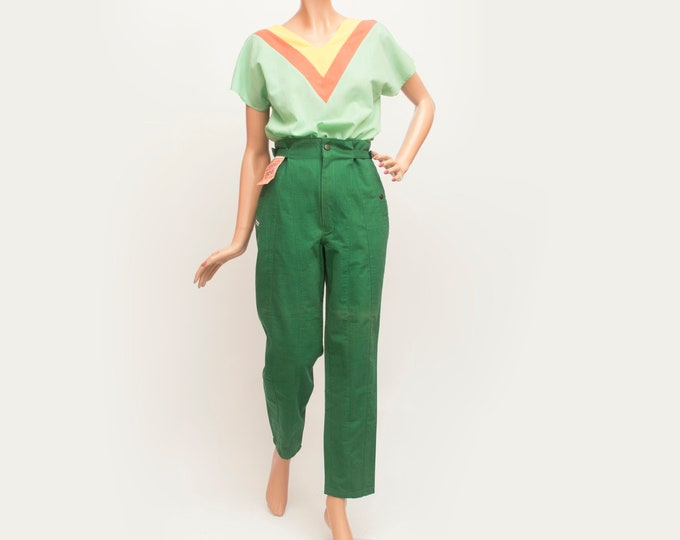 NOS Vintage green paper bag waist trousers