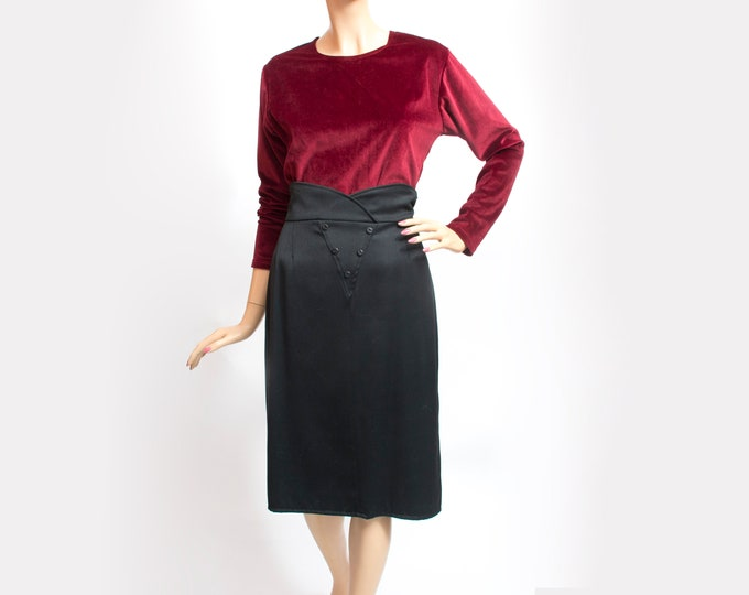 NOS Vintage black pencil Skirt 80s deadstock vintage