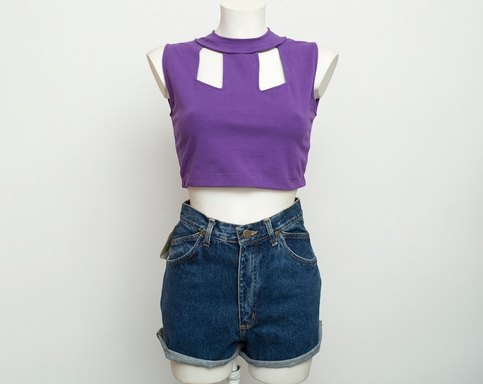 NOS vintage purple crop top  size S