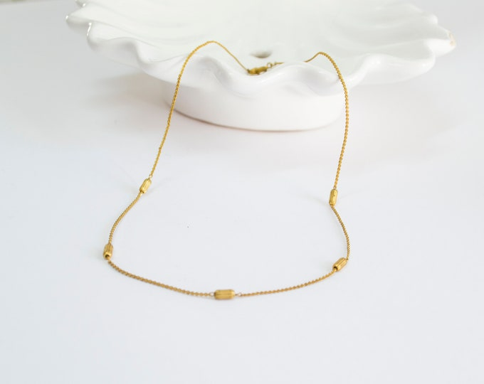 Vintage necklace golden rope chain with golden beads