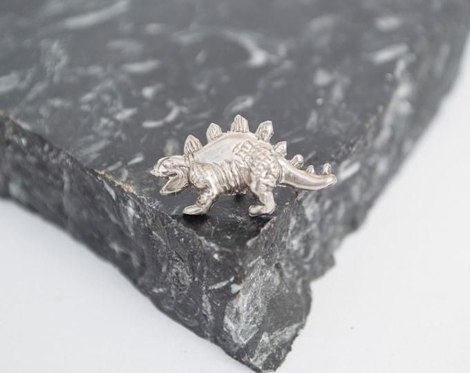 Stegosaurus Vintage dinosaur pin silver  deadstock
