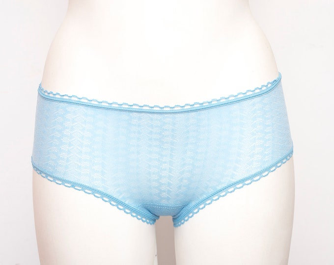 70s panties blue dead stock Vintage briefs low cut sheer geometric