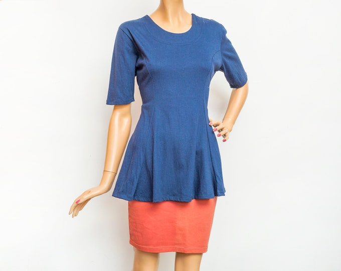 NOS vintage 90s flared tshirt navy blue dead stock vintage