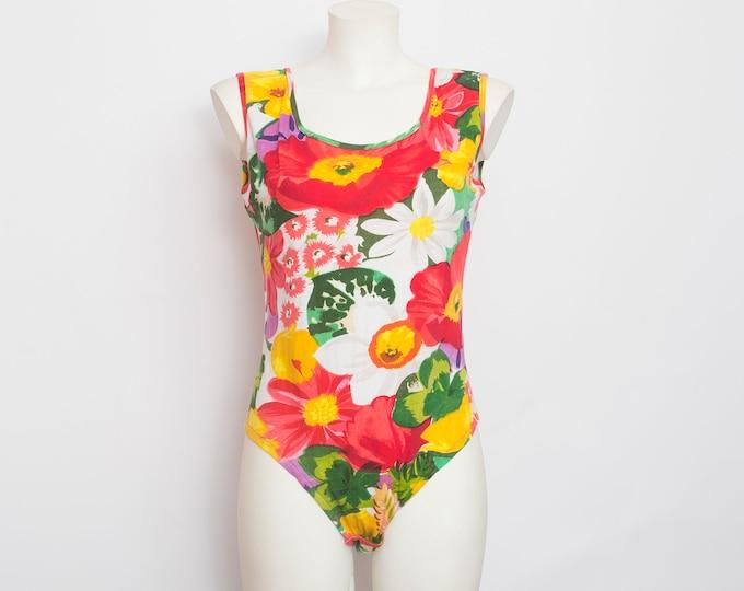 NOS vintage 90s floral print bodysuit top  size M