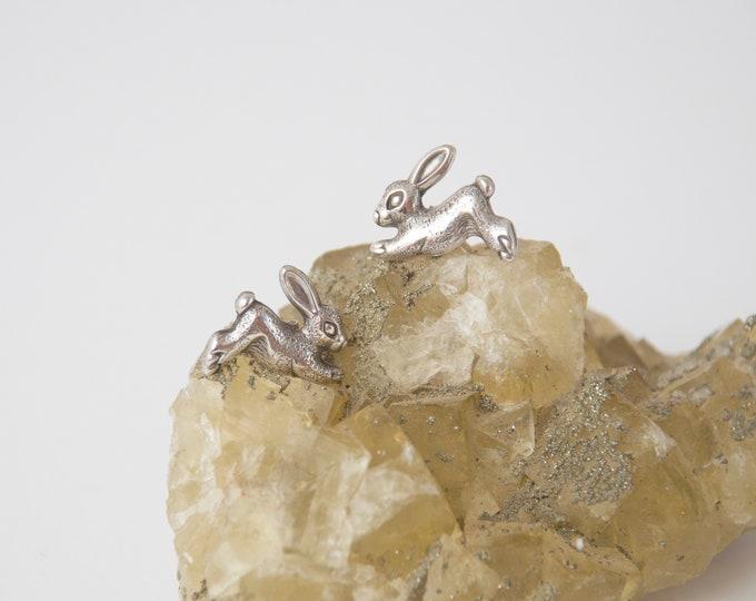 Vintage earings silver rabbits deadstock