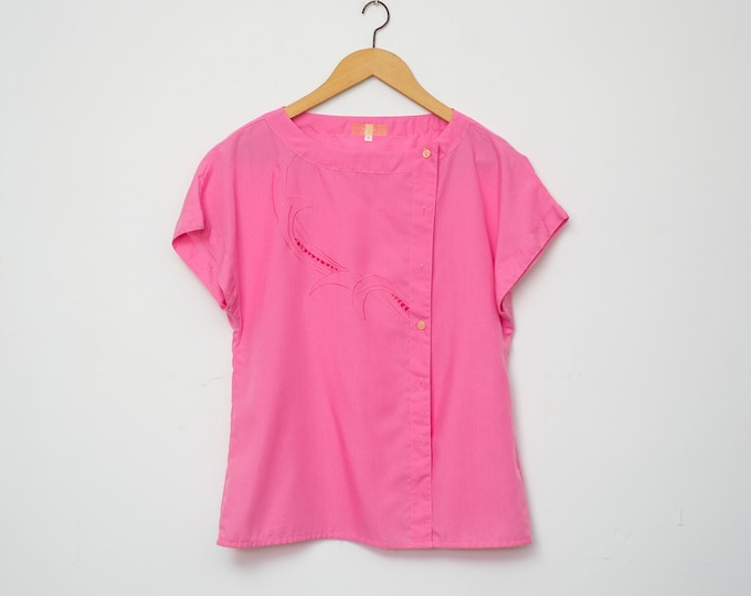 NOS vintage 80s shirt blouse pink box top