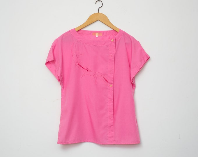 NOS vintage 80s shirt blouse pink box top