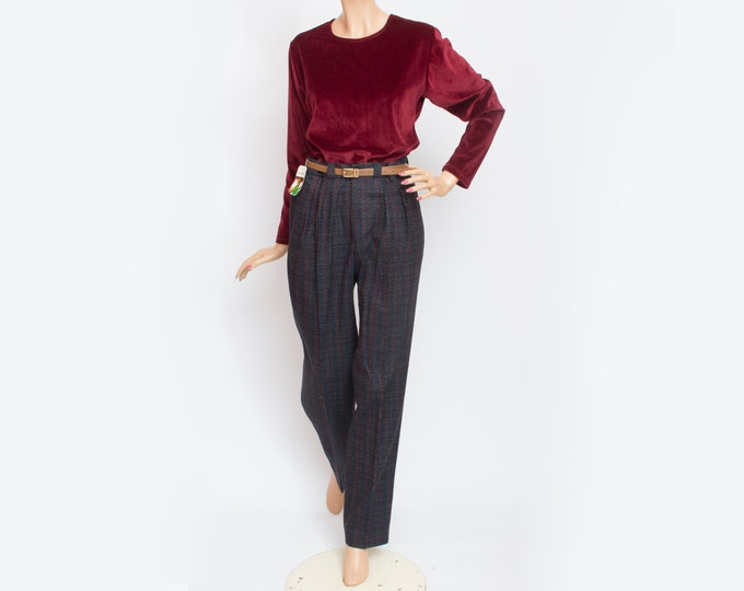 NOS Vintage wooly blue red checked pants