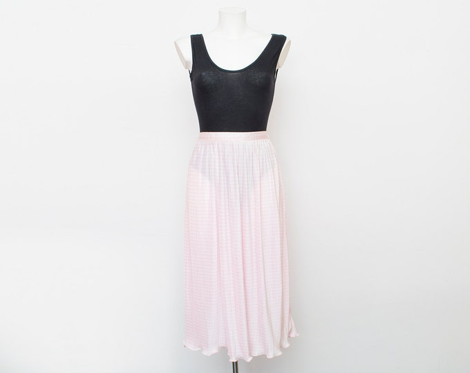 long skirt Deadstock vintage pleated pink sheer