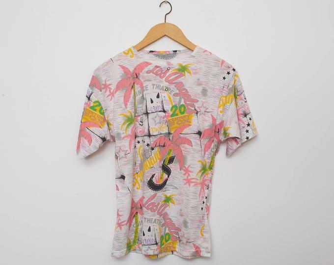 NOS vintage 90s tshirt pink white