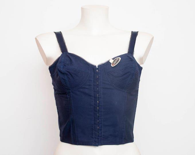 1950 navy blue bullet bra long line bra bombshell dead stock Vintage