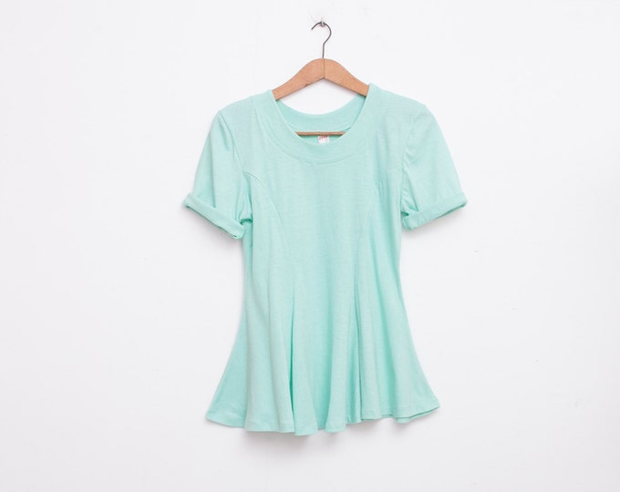 NOS vintage 90s flared tshirt green