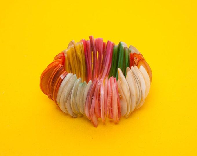 Dead stock 80s bracelet multicolor Nacre