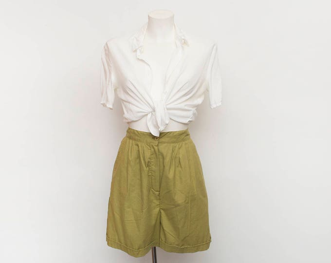 Vintage Bermuda Shorts high waist cotton Dead stock 90s