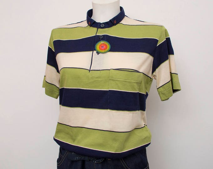 NOS vintage 80s polo shirt striped