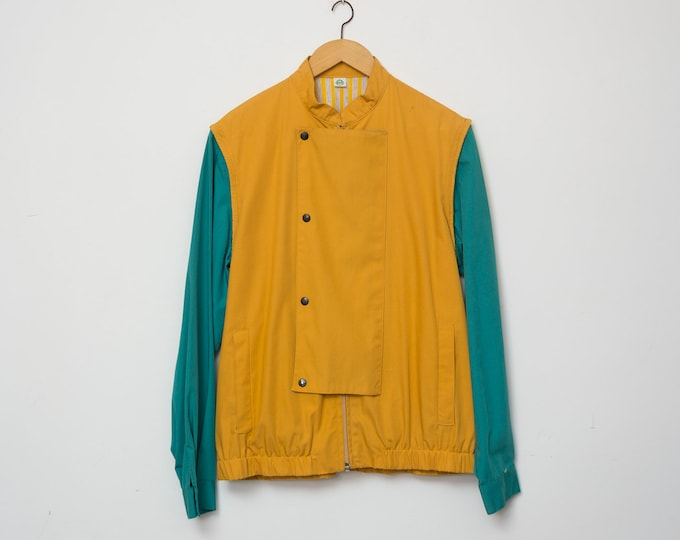 80s jacket NOS vintage mustard yellow summer jacket