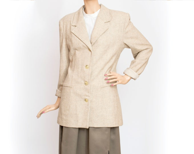 80s NOS vintage wool jacket coat beige