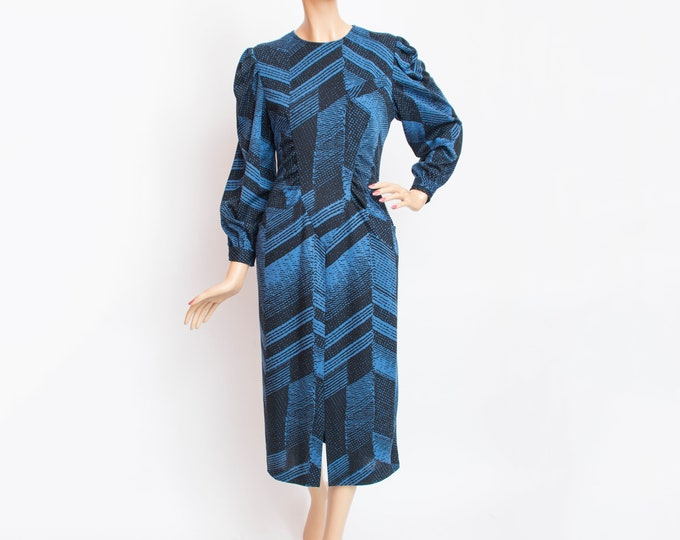 80s Vintage  pencil dress  dead stock blue black