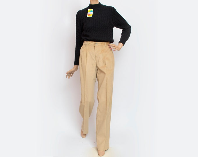 NOS Vintage 80's beige corduroy pants trousers