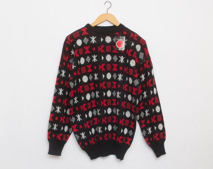 sweater 90s NOS vintage black red