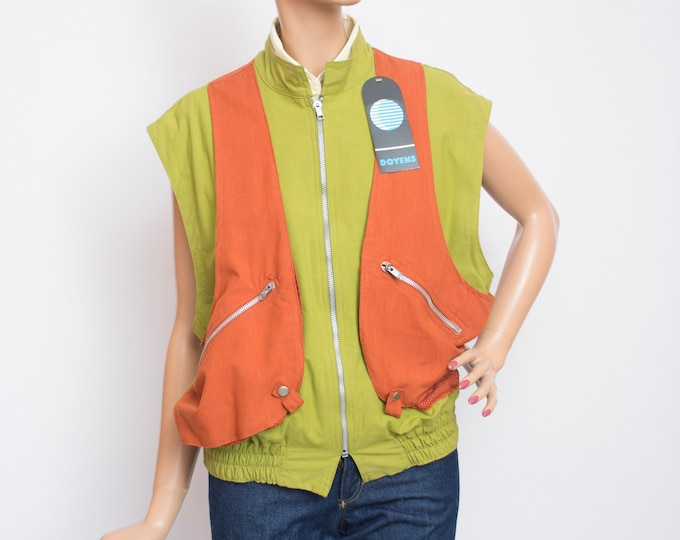 80s jacket NOS vintage green and red summer vest jacket