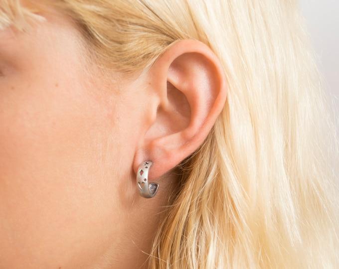 Vintage earings silver hoops  cutouts deadstock
