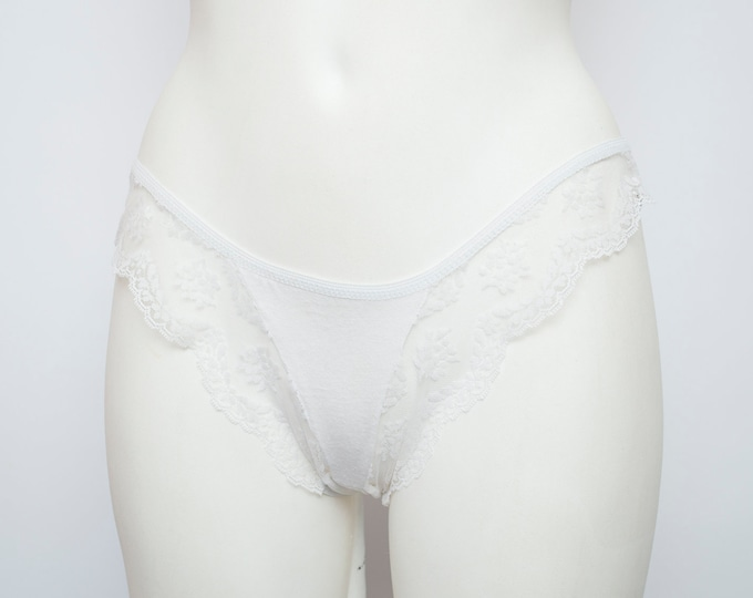 Panties lace sheer floral white dead stock Vintage