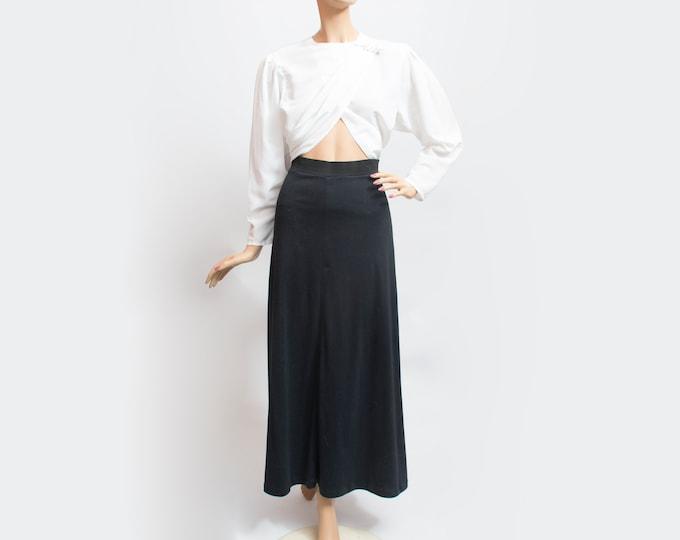NOS Vintage black long Skirt 80s