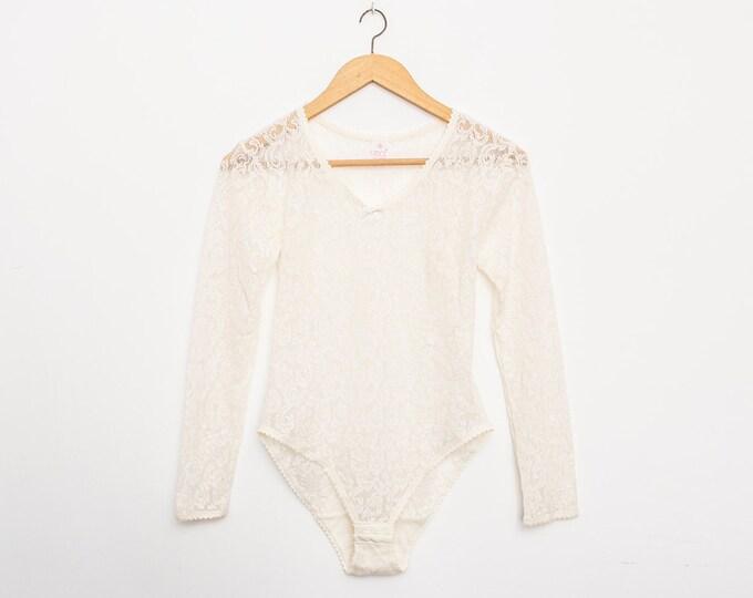 White bodysuit lace dead stock Vintage size S