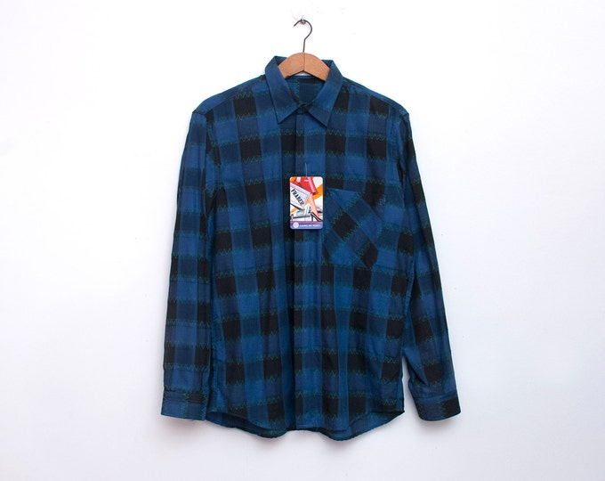 80s Nos vintage plaid blue black shirt boyfriend shirt