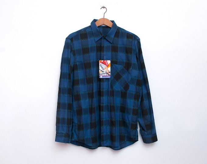 80s Nos vintage plaid blue black shirt boyfriend shirt