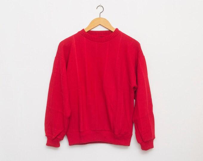 sweater 90s NOS vintage red crop sweater sport