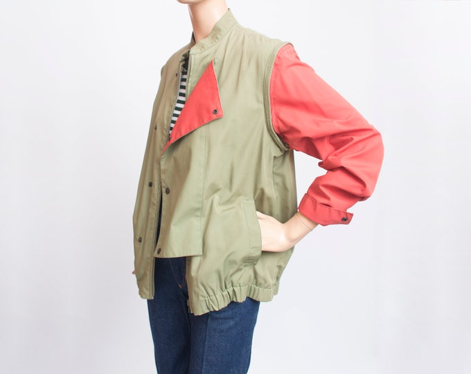 80s jacket NOS vintage green and red jacket vest