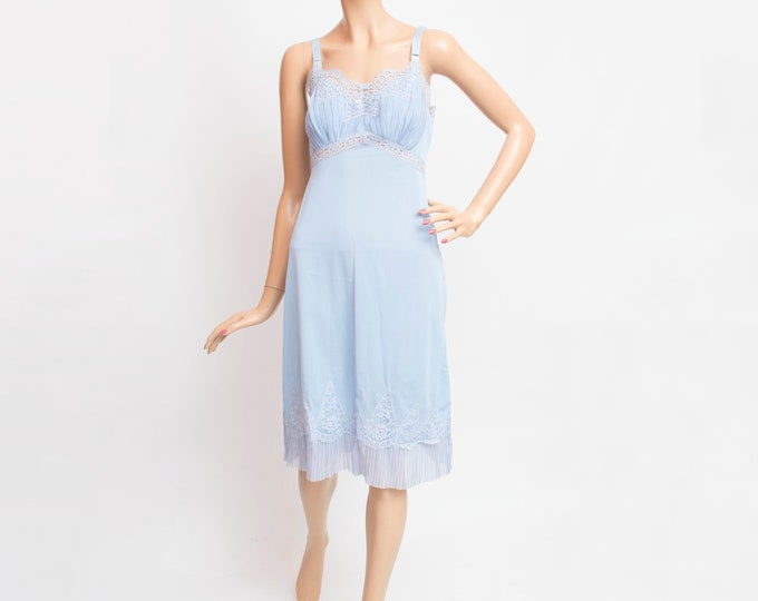 slip lingerie blue lace dead stock Vintage