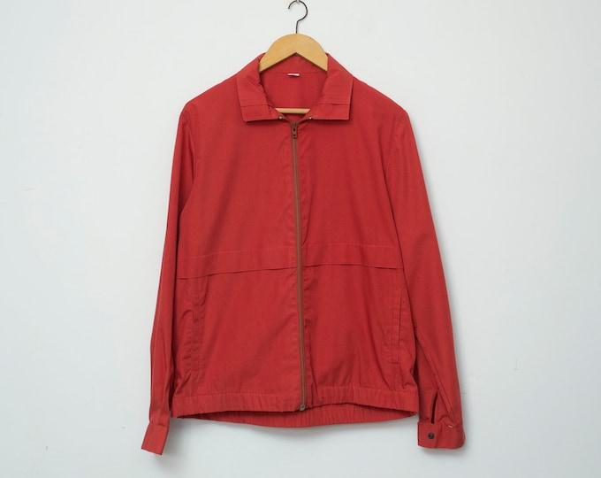 Jacket NOS vintage red burgundy summer jacket sport deadstock