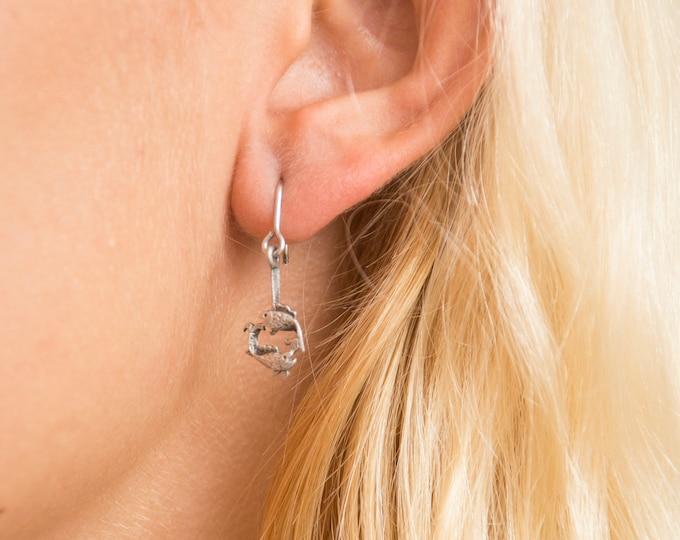 Vintage earings silver pisces zodiac sign  deadstock
