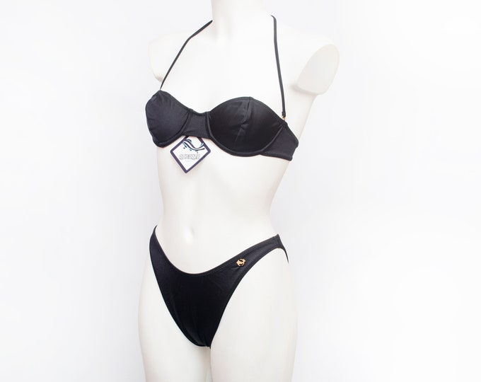 hight cut 90s bikini NOS Vintage black  underwired cups