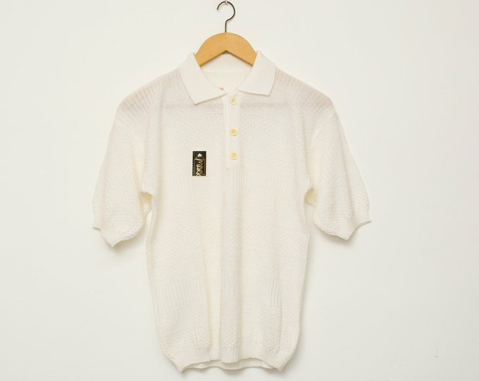 Vintage white knit polo top deadstock
