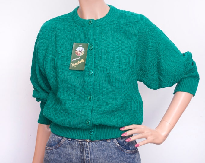 Vintage cardigan deadstock knit green geometric
