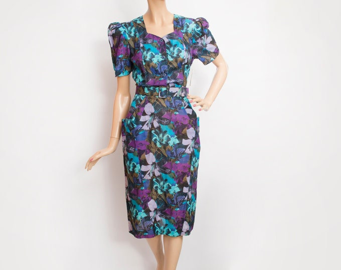 80s Vintage floral pencil dress  dead stock blue purple