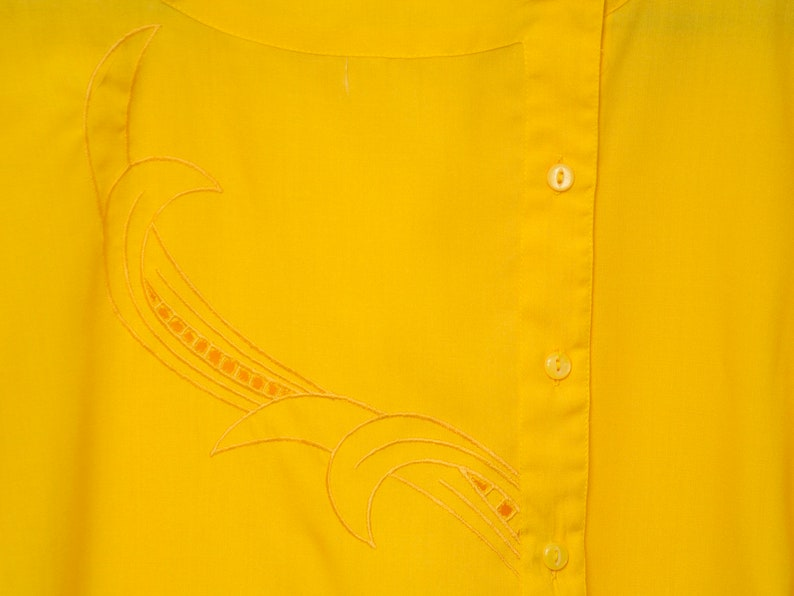 NOS vintage 80s shirt blouse yellow box top