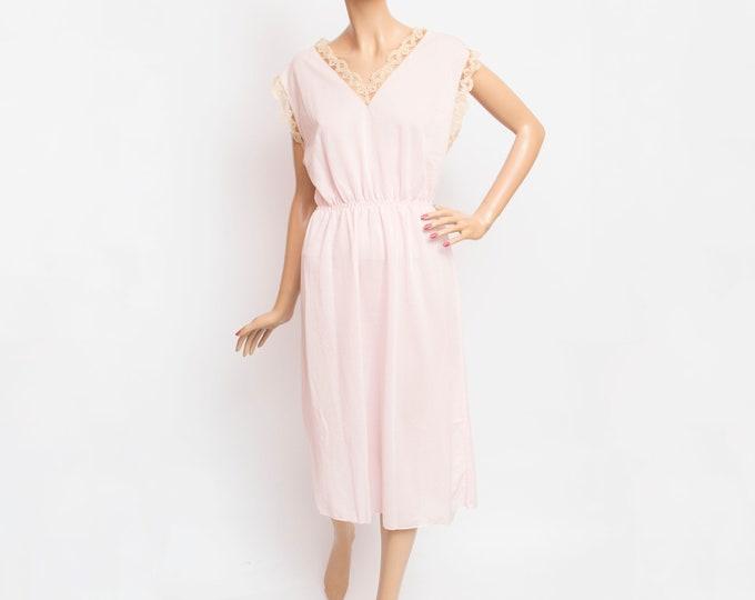 nightgown dead stock Vintage nigthtie slip pink and beige