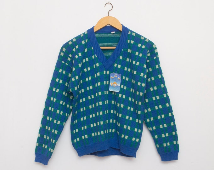 sweater 80s NOS vintage blue checked Vneck