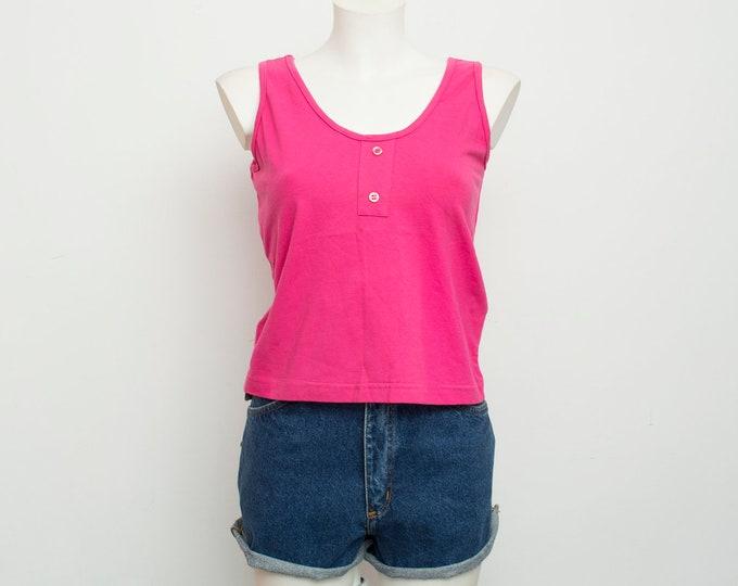 NOS vintage plain hot pink top