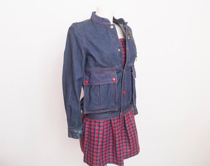 80s NOS vintage  denim jacket red buttons