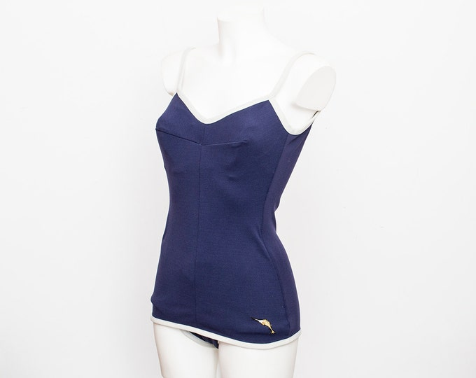 NOS Vintage swimsuit Size S blue and white