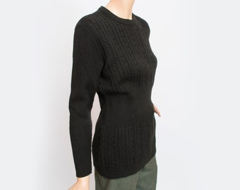 Vintage sweater long cable knit black  deadstock